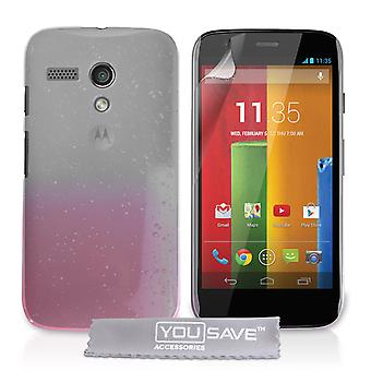 Motorola Moto G regndråbe hårdt etui - Baby Pink-klar
