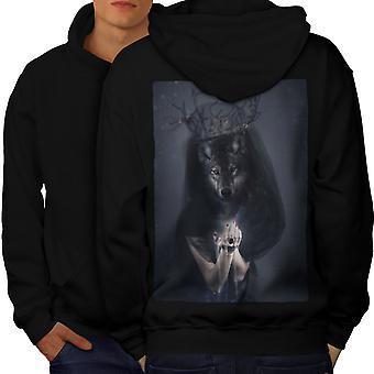 Wolf King Beast Animal Men BlackHoodie Back | Wellcoda