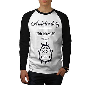 Historia de invierno frío hombres blanco camiseta de (mangas negro) béisbol LS | Wellcoda