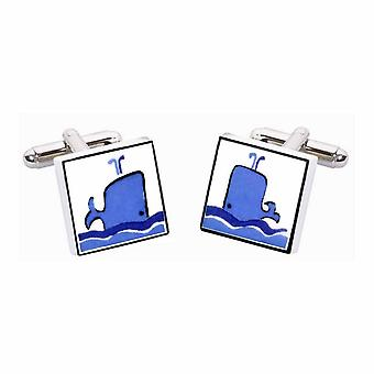 Whale Cufflinks by Sonia Spencer, in Presentation Gift Box. Hand painted
