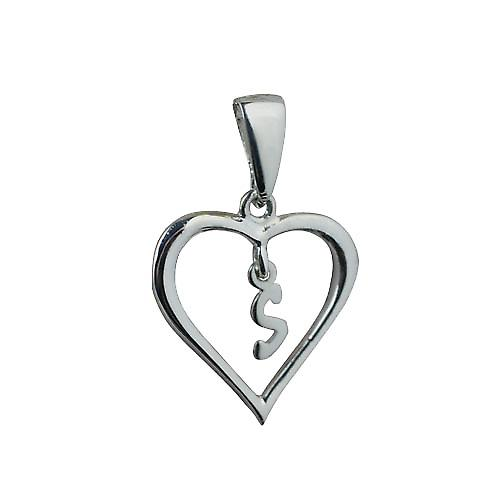 Silver 18x18mm initial S in a heart Pendant
