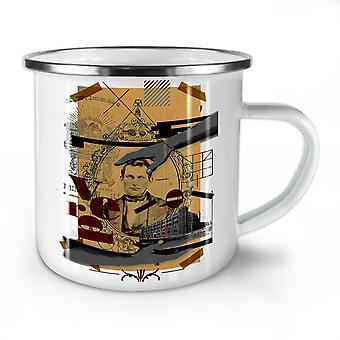 Art Mosaic Man NEW WhiteTea Coffee Enamel Mug10 oz | Wellcoda