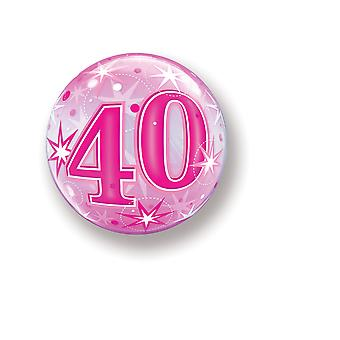 Balloon Bubbel ball number 40 birthday pink star approximately 55 cm