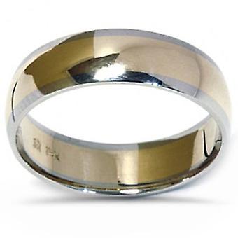 Herren 14K Gold zwei Ton Comfort Fit Plain Hochzeitsband