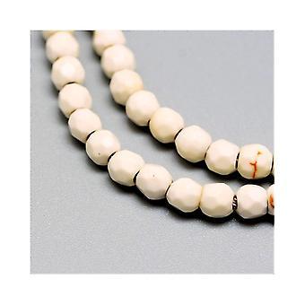 Nitką 90 + biały Jade 4mm szlifowane koraliki okrągłe Y09140