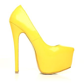 DONNA Yellow Patent PU Leather Stilleto Very High Heel Platform Court Shoes