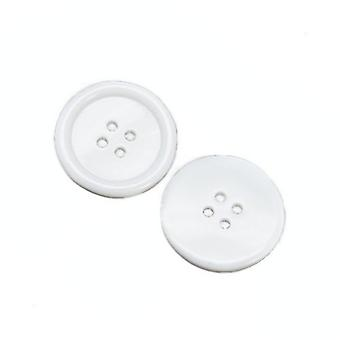 Packet 8 x White Resin 34mm Round 4-Holed Sew On Buttons HA10455