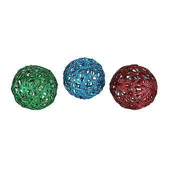 مجموعة من الأسلاك المعدنية المنسوجة 3 كرات ديكور 4.5 بوصة قطر