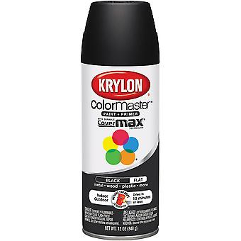 Colormaster Indoor/Outdoor Aerosol Paint 12oz-Flat Black