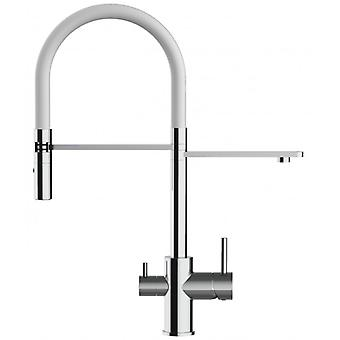 The three-way faucet chrome kitchen with white cane and pull-out spray 2 jets for use with filter
