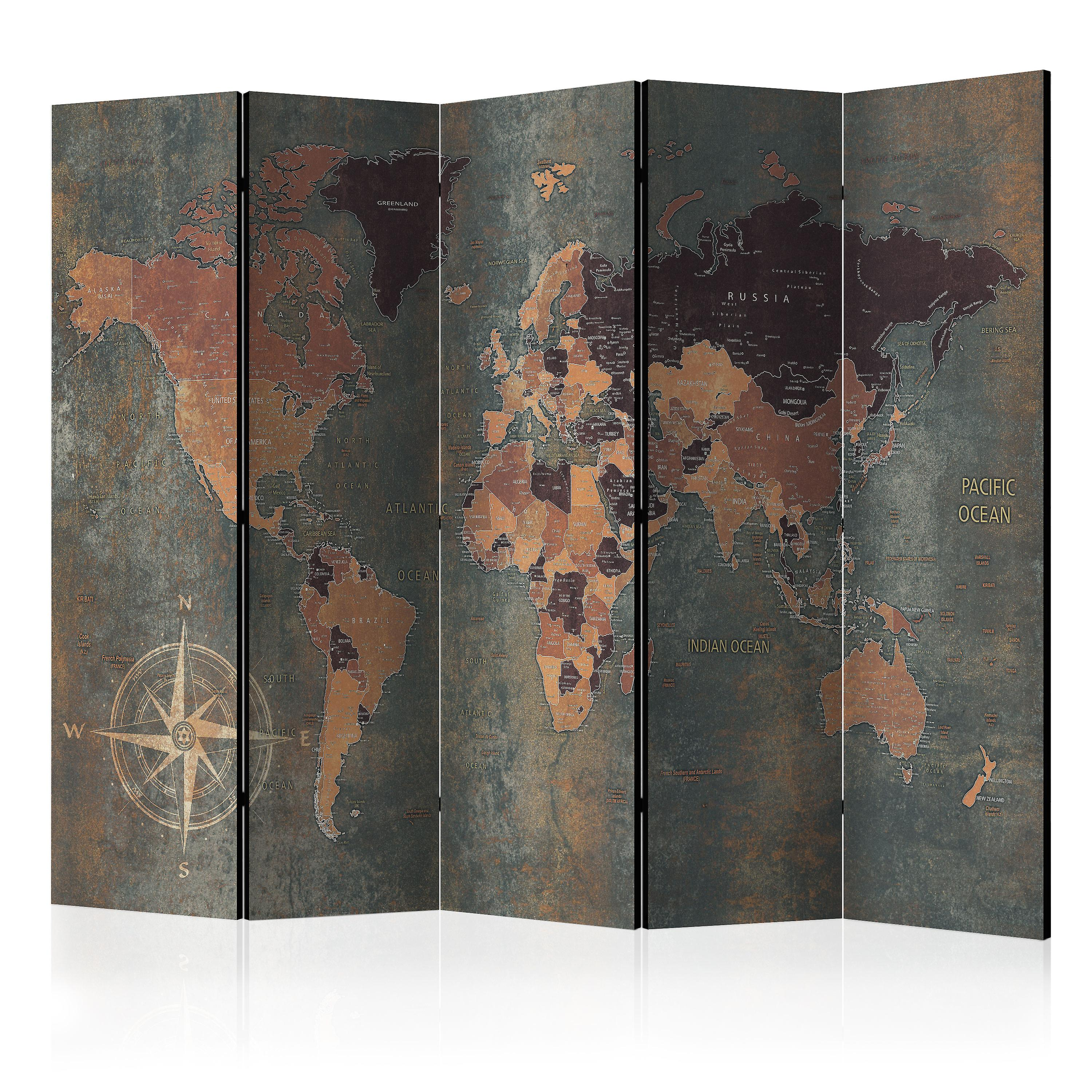 Paravent 5 volets - Room divider – Map in marrons and griss