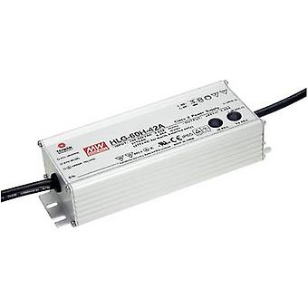 Mean Well HLG-60H-24A LED driver, LED transformer Constant voltage, Constant current 60 W 2.5 A 24 Vdc PFC circuit, Surge protection, adjustable