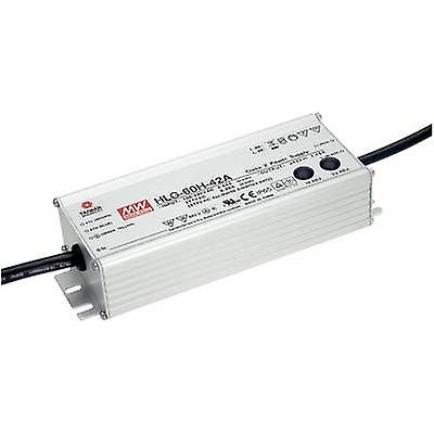 Mean Well HLG-60H-24B LED driver, LED transformer Constant voltage, Constant current 60 W 2.5 A 14.4 - 24 Vdc dimmable, PFC circuit, Surge prougeection