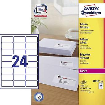 63,5 x 33,9 mm papel de etiquetas Avery Zweckform L7159-100