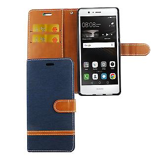 Bag for Huawei P9 Lite jeans cover cell phone protective cover case dark blue