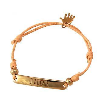Women - bracelet - engraved - J ´ J'ADORE - rose gold plated - bright coral - rose