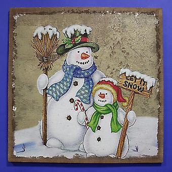 Jingles - 80 x 80 cm Schneemann hessischen Weihnachten Bild
