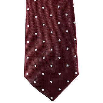 David Van Hagen Polka Dot Tie - Burgundy/White