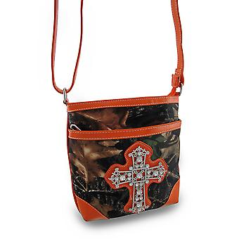 Forest Camouflage Cross Body Bag w/Vinyl Trim and Rhinestone Cross