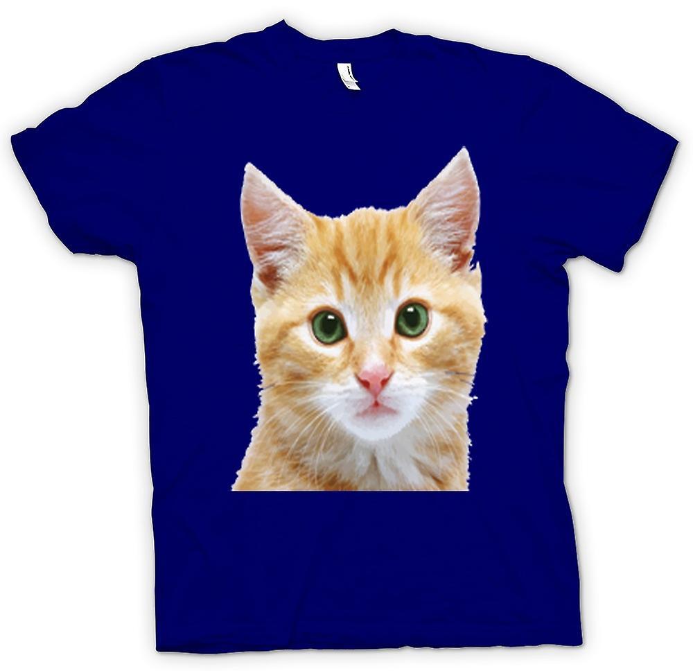 Mens t-shirt-ritratto viso carino gattino rosso