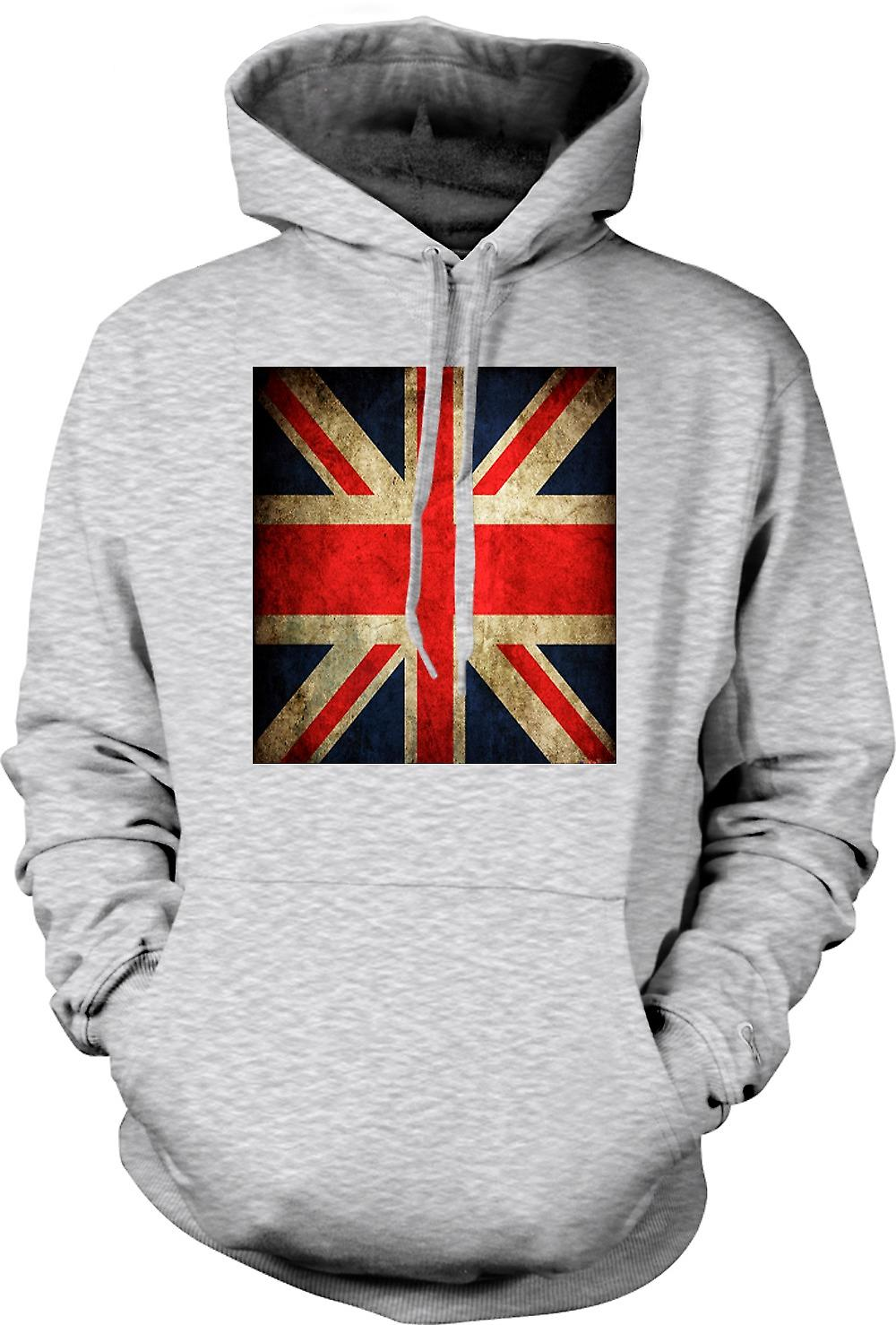Mens Hoodie - Great Britiain Grunge Flag