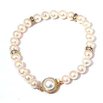 Toc Semi Baroque Cream Bleached Freshwater Cultured Pearl Bracelet 7.5