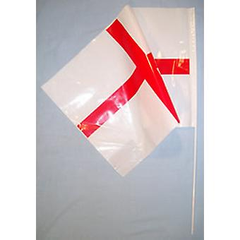 St. George's/England Plastic Hand Held Flag (Size 29cm L x 17cm W)