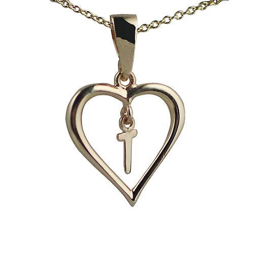 9ct Gold 18x18mm initial T in a heart Pendant with a cable Chain 16 inches Only Suitable for Children