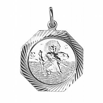 Sterling Silver Pendant St Christopher Hexagonal Bright cut edge