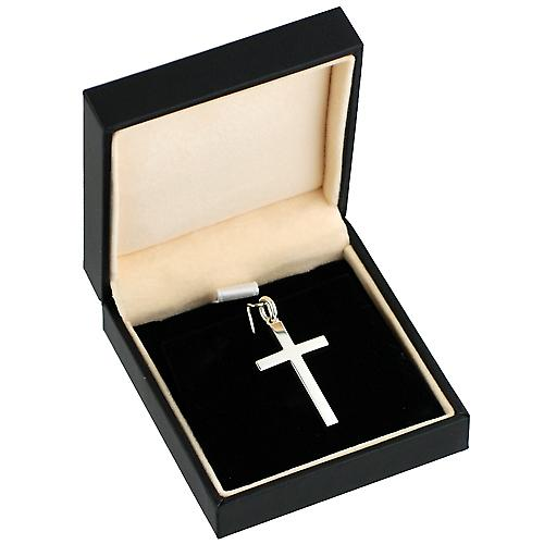 Silver 30x18mm plain solid block Cross
