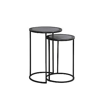 Light & Living Talca Pair Of Nesting Side Tables With Lead Antique Edge (Ø35x51+Ø40x60cm)