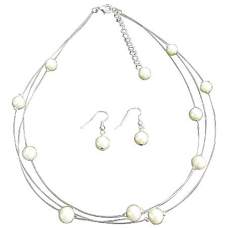 Timeless Elegant Three Stranded Ivory Pearl Necklace Earrings