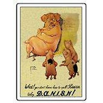 DANISH pig steel fridge magnet    (hb)