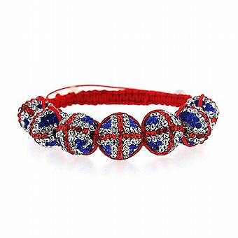 The Olivia Collection Union Jack Disco Ball Adjustable Length Bracelet FJ905