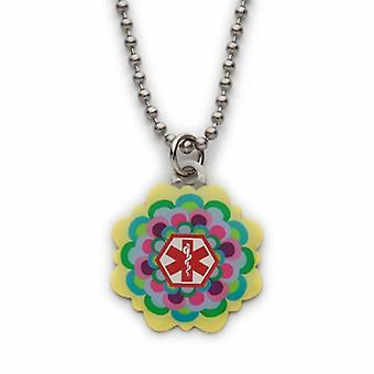 Fashion Alert Girls Colourful S.Steel Medical ID Flower Necklace  on 18