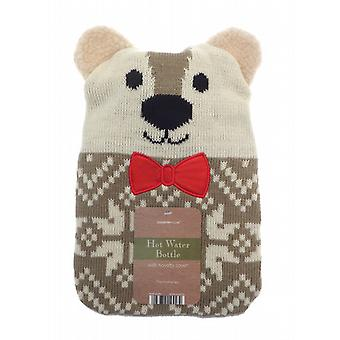 Woodland Warmer 1L Knitted Hot Water Bottle: Bear