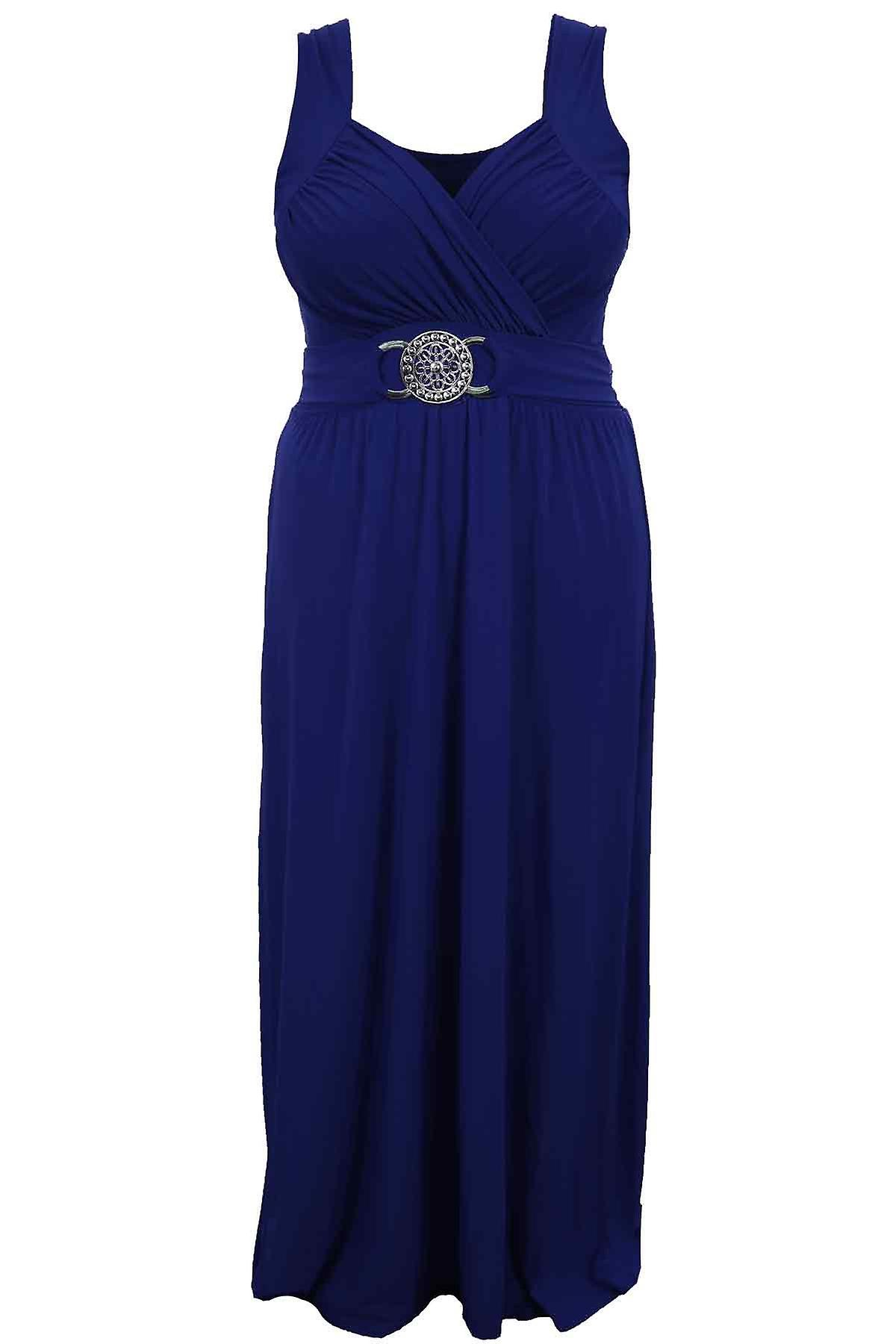 Ladies Buckle Waisted Plus Size Tie Back Evening Long Women's Maxi Dress