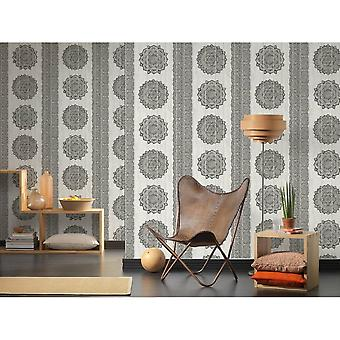 A.S. Creation As Creation Paisley Print Textured Floral Non-Woven Faux Wood Panel Wallpaper 364623