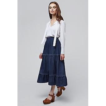 Louche Tahira Chambray Tiered Lace Trim Skirt