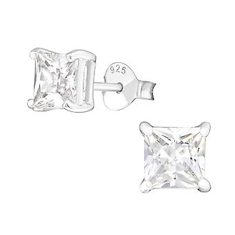Square - 925 Sterling Silver Classic Ear Studs - W433X