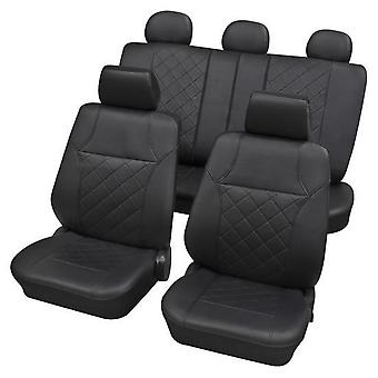 Black Leatherette Luxury Car Seat Cover set For Renault LAGUNA II 2001-2018