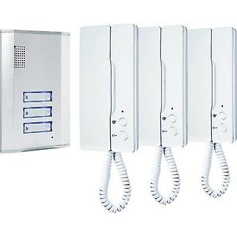 Door intercom Complete kit Smartwares 10.007.48 3 flat building Aluminium , White