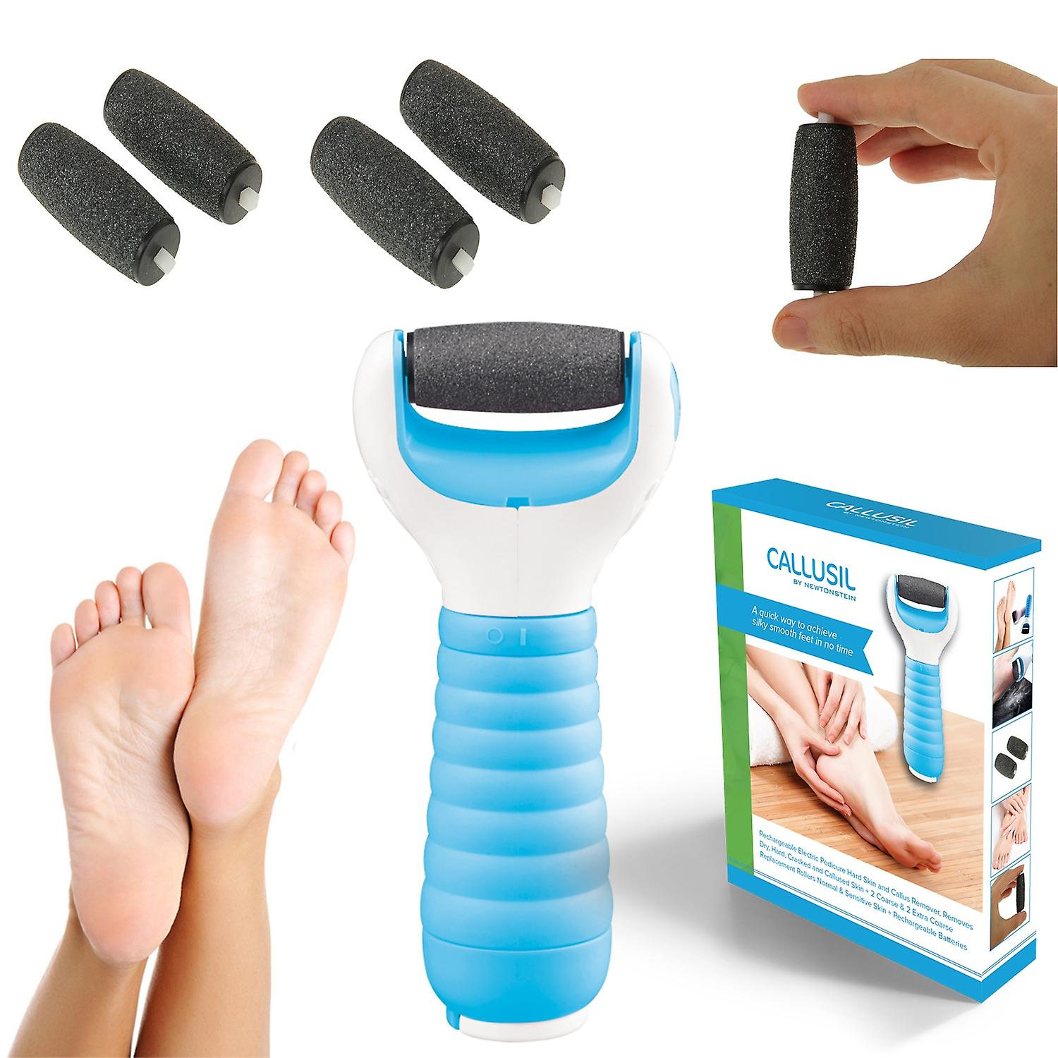 Ava Moritz - Callusil - Rechargeable Electric Pedicure Hard Skin and Callus Remover Removes Dry Hard Cracked and Callused Skin + 2 Coarse and 2 Extra Coarse Replacement Rollers Normal and Sensitive Skin + Rechargeable Batteries