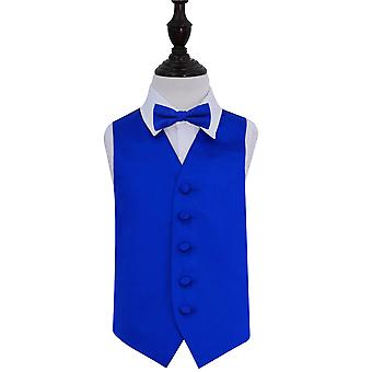 Boy's Royal Blue Plain Satin Wedding Waistcoat & Bow Tie Set