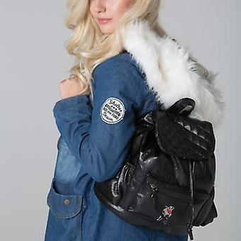 POLAR WHITES BLACK QUILTED FLAP BACKPACK o : o