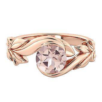 Naturlige fersken/Rosa 2,00 CT VS Morganite Ring Rose guld 14K blomsterblade blad