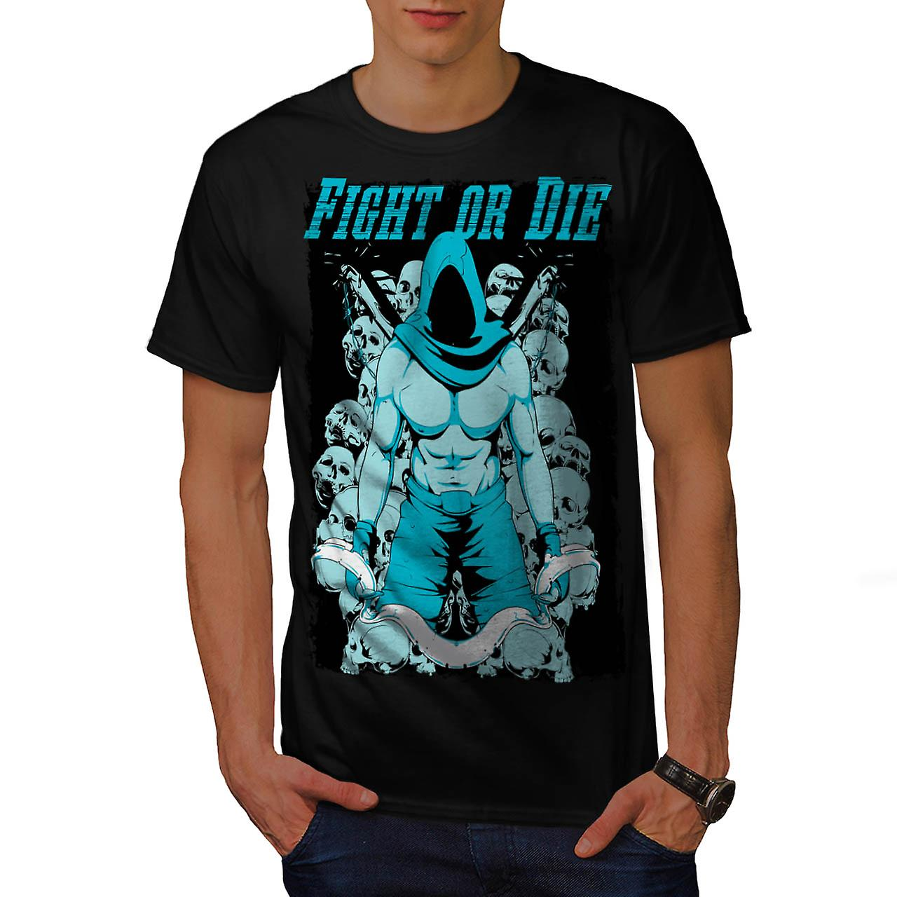 Fight or Die Warrior Battle Brawl Men Black T-shirt | Wellcoda