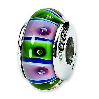 Ster. Silver Reflections Green Red Murano Glass Bead Charm