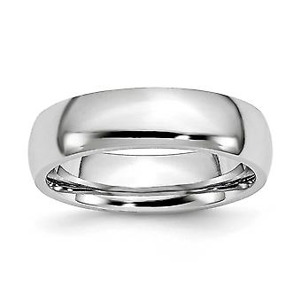 Cobalt Chromium Half Round Engravable Polished 6mm Band Ring - Ring Size: 7 to 13
