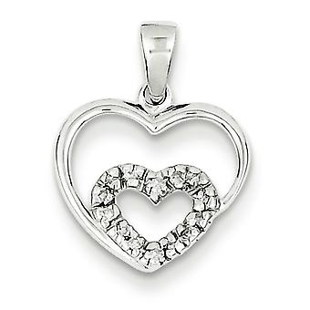 Sterling Silver Rhodium Heart Pendant - .05 dwt .8 Grams
